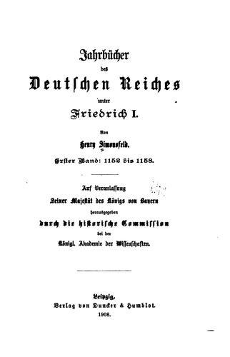 Jahrbücher des Deutschen Reiches unter Friedrich I.