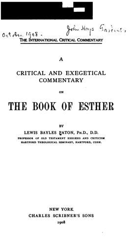 Download A critical and exegetical commentary on the Book of Esther