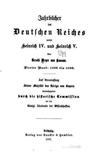 Download Jahrbücher des Deutschen Reiches unter Heinrich IV. und Heinrich V.