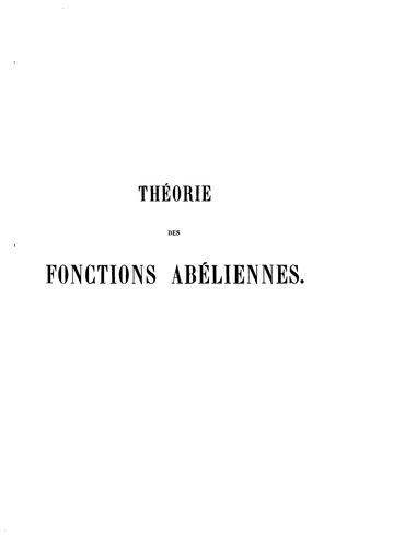 Théorie des fonctions Abéliennes