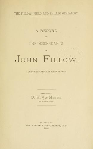 The Fillow, Philo and Philleo genealogy.