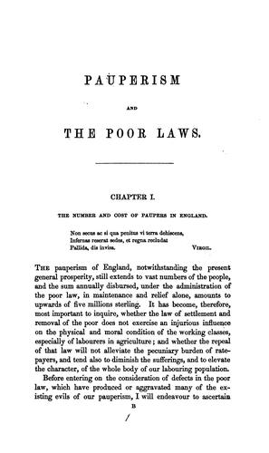 Pauperism and poor laws