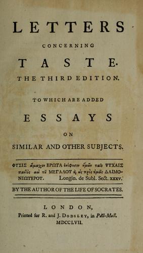 Download Letters concerning taste.