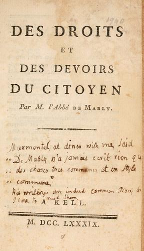 Des droits et des devoirs du citoyen.