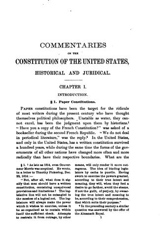 Commentaries on the Constitution of the United States, historical and juridical