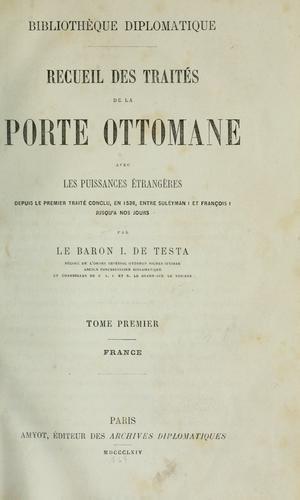Download Recueil des traités de la Porte ottomane avec les puissance étrangères