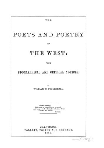 Download The poets and poetry of the West
