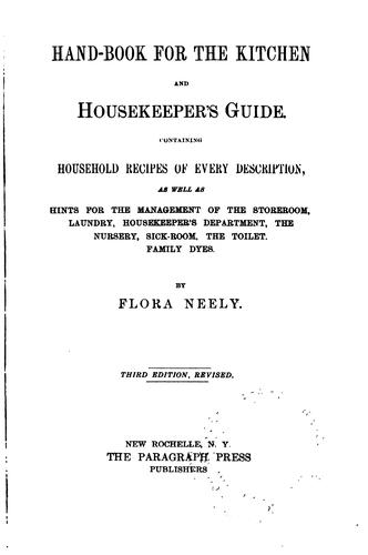 Hand-book for the kitchen and housekeeper's guide