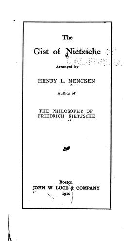 Download The gist of Nietzsche