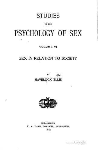Sex in relation to society
