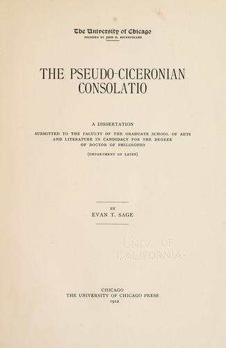 The pseudo-Ciceronian Consolatio.