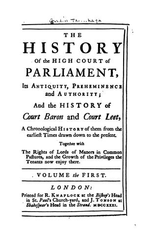 Download The history of the High court of Parliament