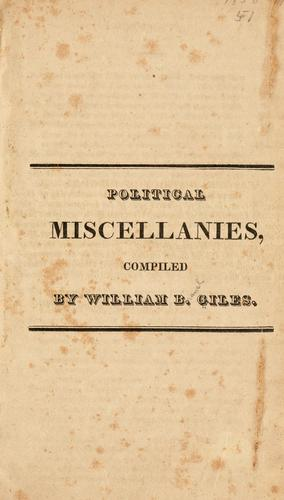 Download Political miscellanies