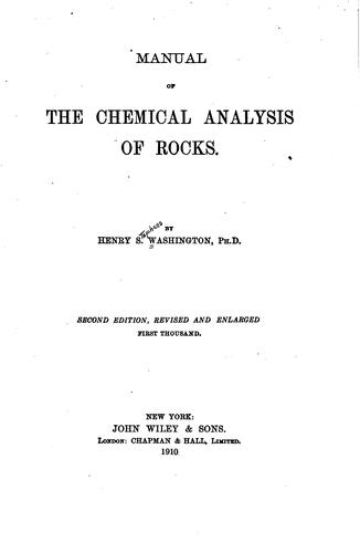 Download Manual of the chemical analysis of rocks.