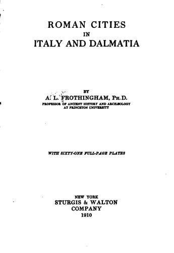 Download Roman cities in Italy and Dalmatia