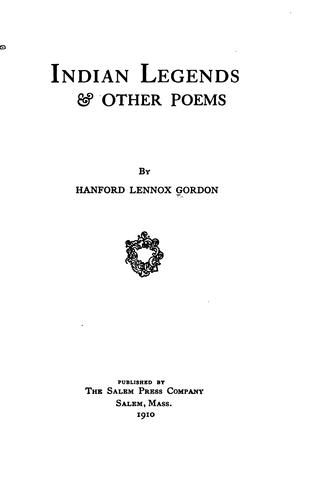 Indian legends & other poems