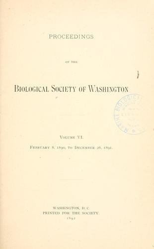 Proceedings of the Biological Society of Washington.