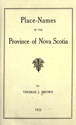 Download Place-names of the Province of Nova Scotia.