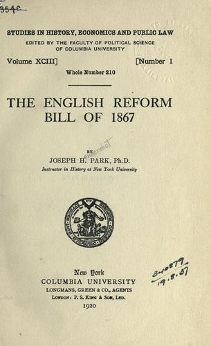 The English reform bill of 1867.