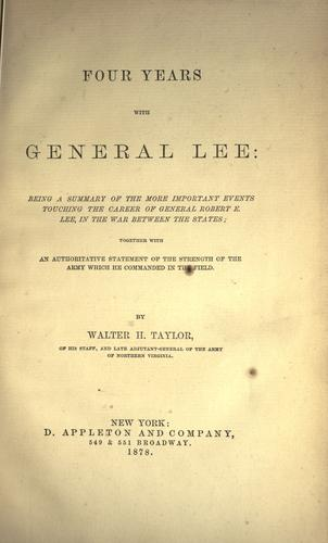 Download Four years with General Lee