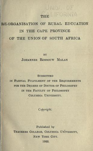 Download The re-organisation of rural education in the Cape province of the Union of South Africa