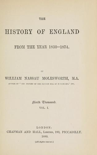 The history of England from the year 1830-1874.