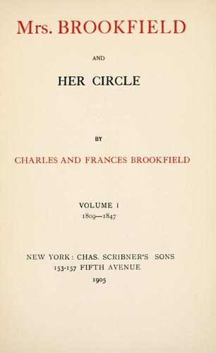 Download Mrs. Brookfield and her circle