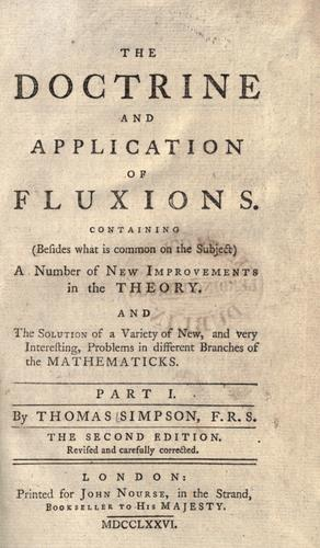 Download The doctrine and application of fluxions