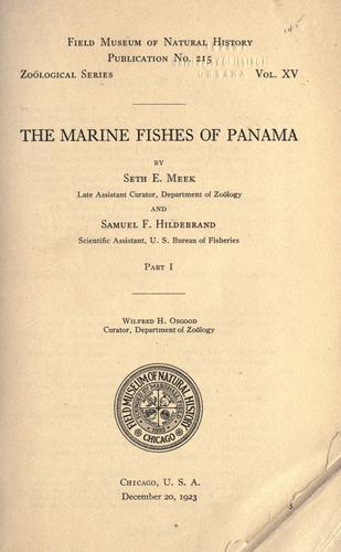 The marine fishes of Panama.