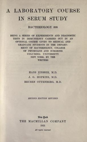 A laboratory course in serum study