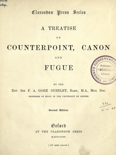Download A treatise on counterpoint, canon and fugue.