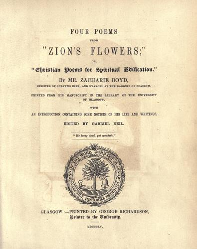 """Four poems from """"Zion's flowers"""""""