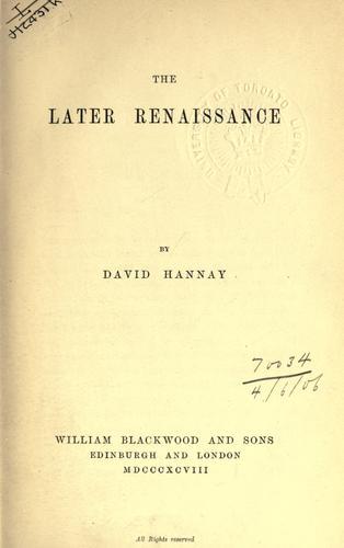 Download The later Renaissance.