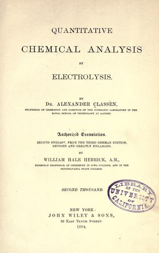 Quantitative chemical analysis by electrolysis.