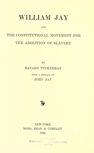 Download William Jay and the constitutional movement for the abolition of slavery
