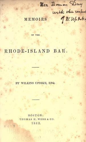 Download Memoirs of the Rhode Island bar.
