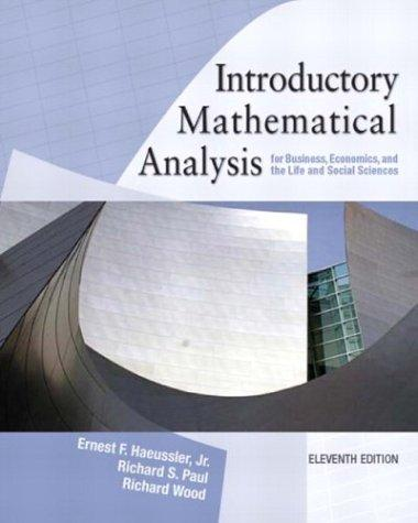Introductory mathematical analysis for business, economics, and the life and social sciences.