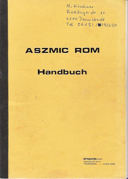 ASZMIC ROM Handbuch screen
