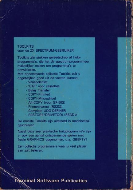 TOOLKITS en Enkele Spelen voor de ZX Spectrum screen