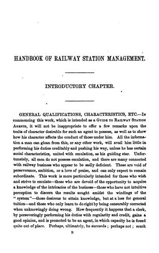The handbook of railway station management; or, Agent's manual by Edmund B. Ivatts