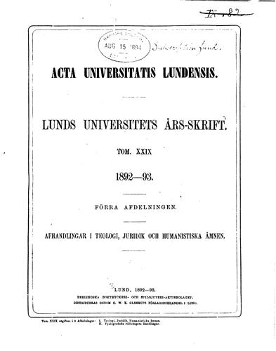 Lunds universitets årsskrift: Acta Universitatis Lundensis. Nova series by Lunds universitet