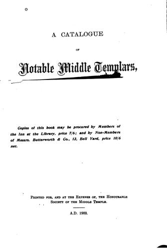 A catalogue of notable Middle Templars