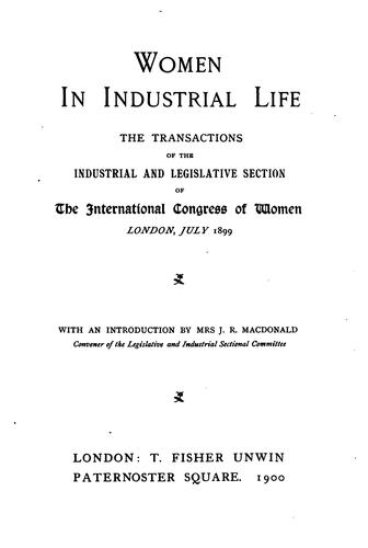[The  International congress of women of 1899 by International congress of women (1899 London)