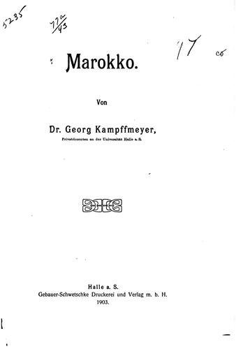 Marokko by Kampffmeyer, Georg