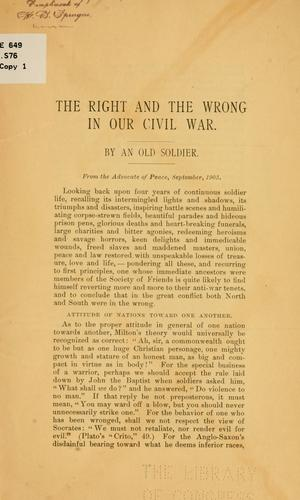 The right and the wrong in our Civil War by Homer B. Sprague