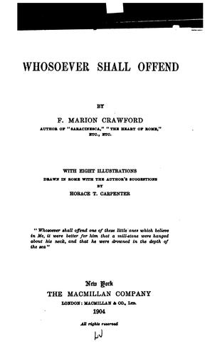 Whosoever Shall Offend by Francis Marion Crawford
