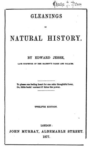 Gleanings in natural history by Edward Jesse