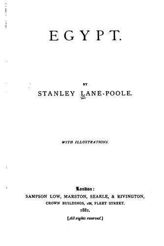Egypt by Stanley Lane-Poole