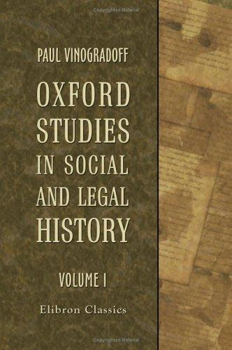 Oxford Studies in Social and Legal History