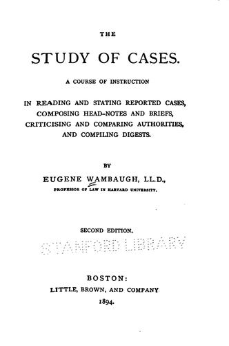 The study of cases